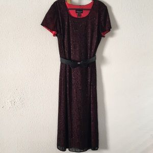 Holiday Connected Womens Black Mesh lace Dress